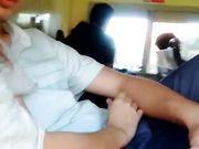Daring young girlfriend performing blowjob in public bus