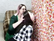 Two young bisexual girls sucking dick and sharing sperm after